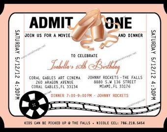 Girl BALLET/Movie BIRTHDAY INVITATION - Printed or Digital/Printable File