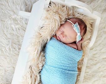 Stretch wrap - 'SKY BLUE' newborn stretch wrap  / scarf - prop blanket - knitbysarah - Stitches by Sarah