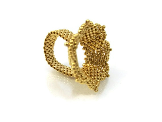24k gold plated ring seed beaded ring by milenasboutique