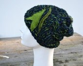 Artistic hat, winter beanie hand knitted unique, dark and light green, felt applique winter woman, Hand made warm soft cozy slouch art 128
