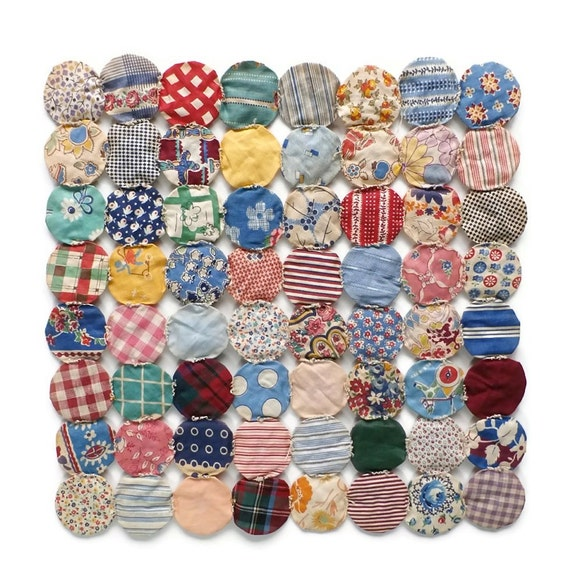 Vintage Calico Yo Yos Fabric Yoyo Quilting By