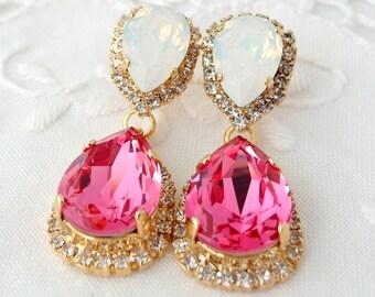 Pink and white opal Chandelier earrings, rose pink and white, Bridal earrings, 14k Gold Dangle earrings, Drop earrings, Swarovski earrings
