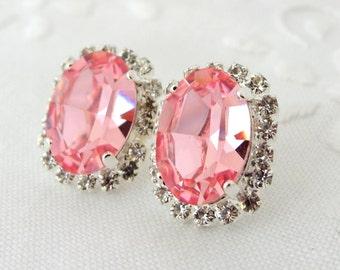 Pink Swarovski Crystal oval stud earring, Silver plated stud earrings, Bridesmaid gifts, Bridal earrings, Swarovski rhinestones studs