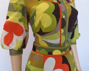 """Vintage 1960's EMILIO PUCCI Op Art PsYcHeDeLiC MoD Outfit Skirt & Blouse Dress 12 M - """"Trifoglio Motif"""""""