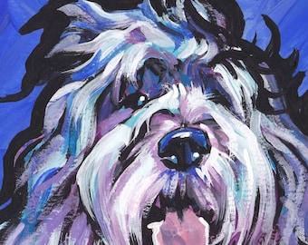 polish Lowland Sheepdog modern Dog print of pop art painting bright colors 12x12 inch