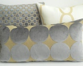DwellStudio dove plush dotscape decorative pillow cover, Gray and tan velvet dots pillow