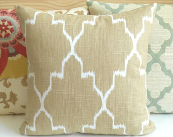 Tan monaco ikat decorative throw pillow cover