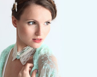 Mint lace shawl with 4 wearing options- shawl, shrug, twist and scarf (DL122)