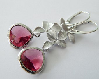 Ruby Red Earrings Orchid Drop Earrings Sterling Silver Dangle Earrings Wedding Jewelry Statement  Earrings