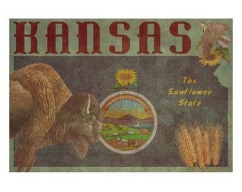 KANSAS 1F- Handmade Leather Wall Hanging - Travel Art