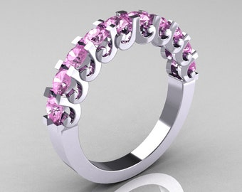 Modern Vintage 14K White Gold Light Pink Sapphire Designer Wedding Band R172-4-142-14KWGLPS