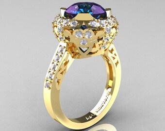 Modern Edwardian 14K Yellow Gold 3.0 Carat Alexandrite Diamond Engagement Ring, Wedding Ring Y404-14KYGDAL