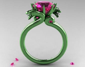 Art Masters 14K Green Gold 3.0 Ct Pink Sapphire Military Dragon Engagement Ring R601-14KGGPS