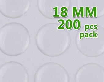 200pcs 18mm Round Clear Epoxy Stickers,epoxy resin,transparent C1900