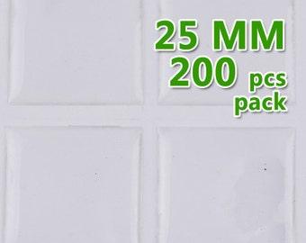 200pcs 25mm Square Clear Epoxy Stickers,epoxy resin C1907