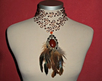 20% off hippie,boho,gipsy crystals-beads-feathers  necklace.....COPPER colour,couponcode SALEFORYOU