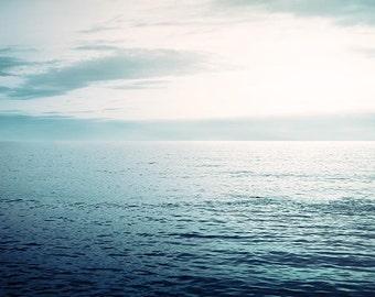 nautical decor large ocean photography Fine art photography abstract 8x10 8x12 inch coastal print blue lilac waves sunset water beach sea