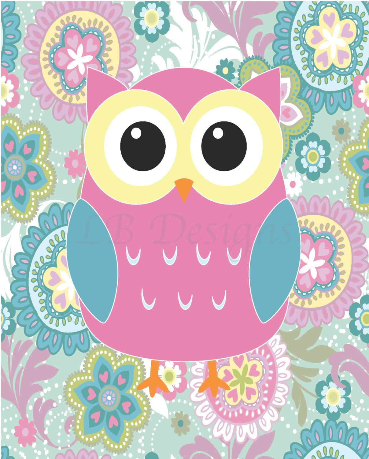 Girls owl nursery decor owl bedroom decor pink owl print - Girl owl decor ...