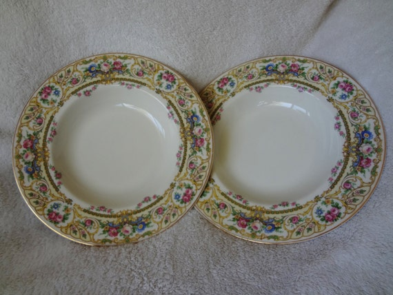 Vintage Syracuse China Old Ivory OPCO Rose Marie Rimmed Soup Bowls