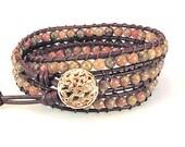 Wrap Bracelet - Triple Wrap - Leather Cord - Gemstone Bracelet - Button Clasp