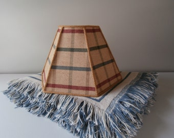 Vintage Plaid Lamp Shade with Rope Trim, Rustic Cabin Decor, Nautical Lamp Shade, Cottage Decor, Hexagon Geometric