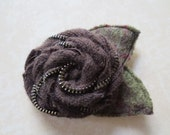 Recycled Wool Sweater Upcycled Zipper Flower Brooch Pin