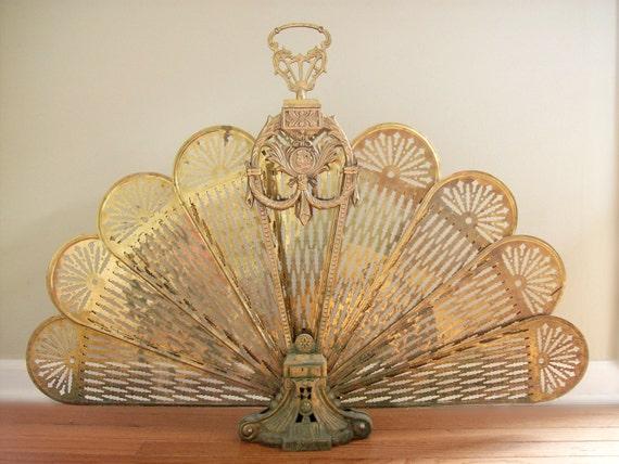 Antique Art Nouveau Brass Fireplace Screen, Peacock Screen, Fan Screen