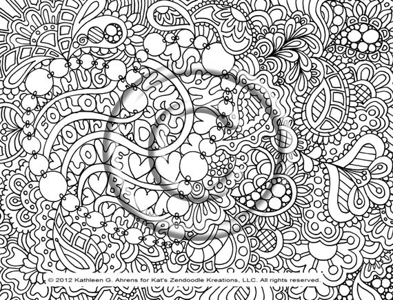 instant pdf digital download coloring page hand drawn zentangle inspired psychedelic be my valentine