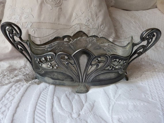 Antique French art nouveau planter pot jardiniere w edged cut glass ...