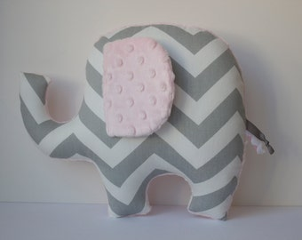 Light pink elephant pillow, modern nursery decor, handmade baby shower gift, chevron, gray grey