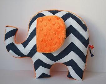 Chevron elephant pillow, navy blue orange chevron, modern boys nursery decor, baby shower gift