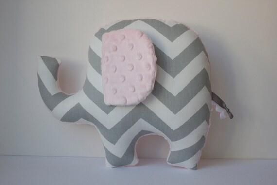 Light pink elephant pillow, modern nursery decor, handmade baby shower gift, chevron, gray grey