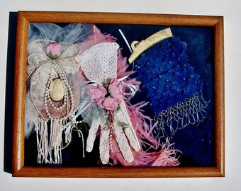 "SALE Shadowbox  ""Display on Lady's Bedroom Bureau Dresser in 1930"" of Flapper Purse, Cameo Brooch, Ostrich Plume, Crocheted Glove, Sachet"