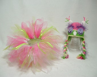 Beautiful Spring Set Tutu and Sleepy Owl Hat Perfect for Photo Prop or Gift for Baby Shower --- READY TO SHIP  ( 0 - 3 m )---