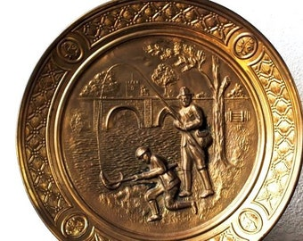 "Vintage Brass Charger Plate, Copper Repousse Fishing Scene Peerage Wall Art, Large 14"" Made in England"