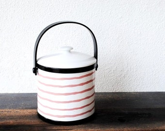 Retro 1980s Ice Bucket, Pink Black White Stripe Cooler Pail Party Bar Ware by Prisma