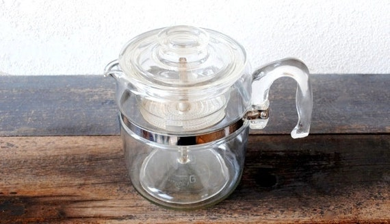 Pyrex Coffee Maker How To Use : Pyrex Glass Coffee Maker Percolator Pot 9 Cup Flameware 7759