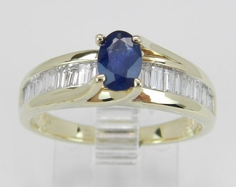 Diamond and Oval Blue Sapphire Engagement Style Ring 14K Yellow Gold Size 7