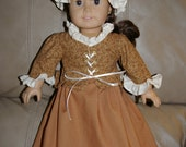 ON SALE/Revolutionary period school coat, cap and skirt. Perfect for Felicity or any 18 inch doll such as American Girl.