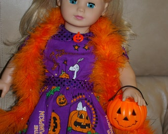 ON SALE/It's the Great Pumpkin Charlie Brown!! Shirt/dress/boa and treat collector