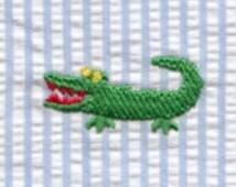 Alligator Embroidered Fabric Finders Seersucker Yardage