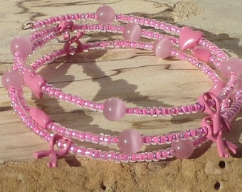 Breast cancer awareness bracelet, pink bracelet, memory wire bracelet , B0033