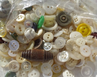 Small white Vintage buttons, Assorted Shapes, Colors, and Sizes, Quantity 1 S0074