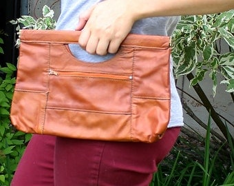 Vntg Brown Leather Fold-Snap Casual Clutch