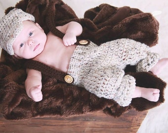 FREE SHIPPING - Crochet Newborn Newsboy Outfit-Newsboy Hat-Suspender Pants-Available in Multiple Colors-Photo Prop