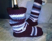 "Maroon & White and Grey  ""Urban Spirit"" Tall Crochet Sweater Boots size Medium(7-8.5) Show your Team Spirit"