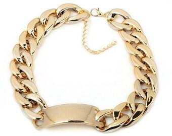 Bracelet Gold Fake Chunky Chain Plastic Bracelet