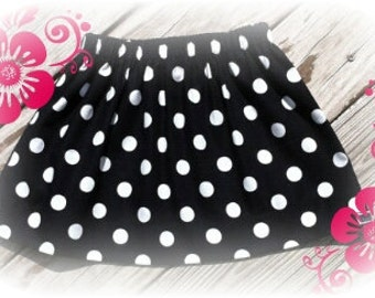 Custom made minnie mouse black white polka dot skirt size 3mos up to 5t with free hair bow