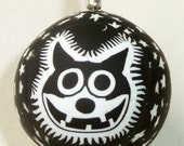 Manic Felix the Cat Stars Ball polymer clay pendant