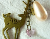 Upcycled Vintage Deer Charm Necklace, Champagne Pearl and Pink Accents